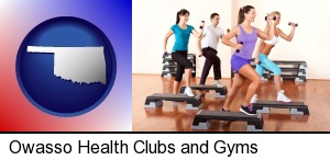 an exercise class at a gym in Owasso, OK