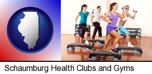 an exercise class at a gym in Schaumburg, IL