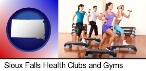 an exercise class at a gym in Sioux Falls, SD