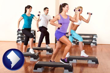 an exercise class at a gym - with Washington, DC icon