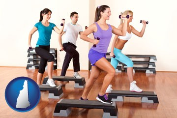 an exercise class at a gym - with New Hampshire icon