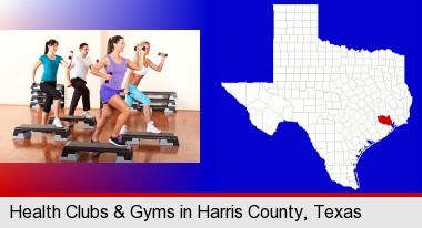 an exercise class at a gym; Harris County highlighted in red on a map