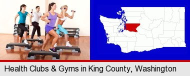 an exercise class at a gym; King County highlighted in red on a map
