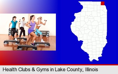 an exercise class at a gym; LaSalle County highlighted in red on a map
