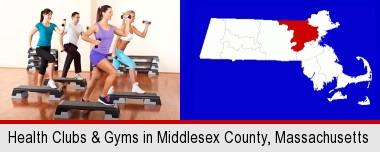 an exercise class at a gym; Middlesex County highlighted in red on a map