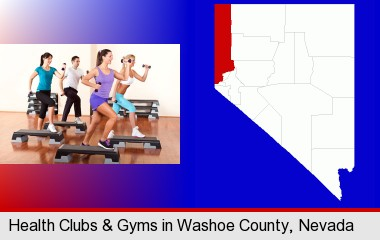 an exercise class at a gym; Washoe County highlighted in red on a map