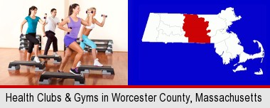 an exercise class at a gym; Worcester County highlighted in red on a map